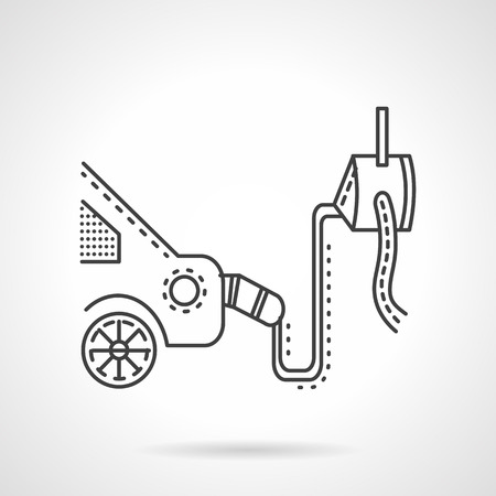 emission: Control or diagnostics equipment of automobile gas emission. Thin line style vector icon for automobile service. Design symbols for business and website. Illustration