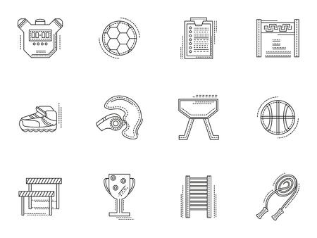 educacion fisica: Equipo de entrenamiento f�sico y los elementos. Conjunto de iconos de la educaci�n delgadas deporte vector de estilo de l�nea plana. S�mbolos de dise�o para el sitio web y los negocios. Vectores
