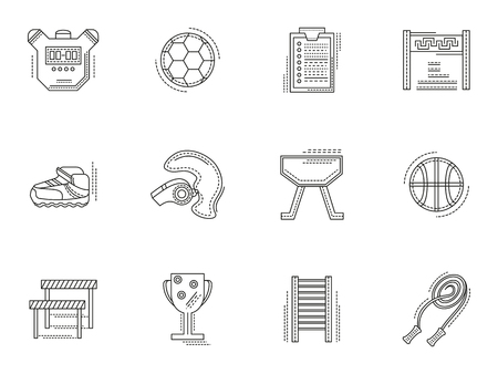 physical training: Physical training equipment and elements. Set of thin flat line style sport education vector icons. Design symbols for website and business.