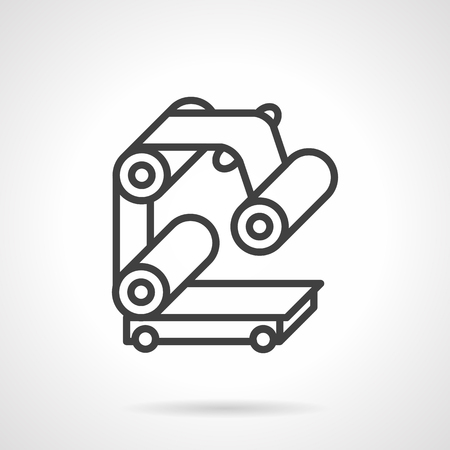 manufacturing equipment: Element or part of conveyor for production packing. Simple flat line vector icon. Manufacturing equipment and mechanisms. Web design elements. Illustration