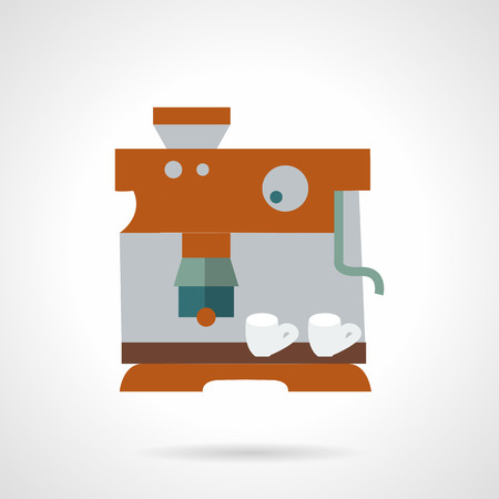 professional equipment: Detail brown coffee machine with two white cups. Flat color style vector icon. Professional equipment for cafe and coffee shops. Web design elements. Illustration