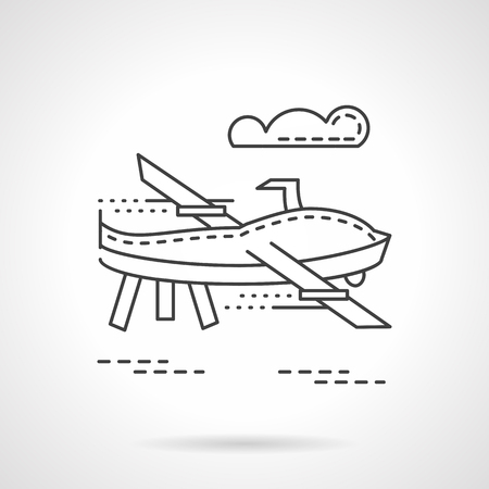 unmanned: Unmanned aerial vehicle flying in sky. Flat thin line style vector icon. Military drones. Web design elements.