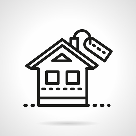 housing style: Simple house with label. Black line style vector icon. Symbols for rental or property, housing, mortgage. Web design elements. Illustration