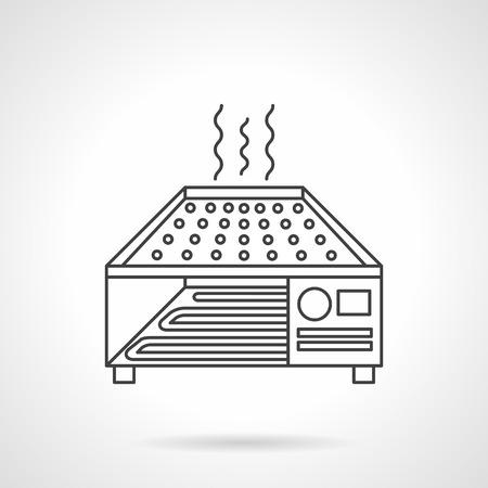 kitchen studio: Industrial cereal or vegetable dryer. Flat line vector icon. Food processing equipment. Web design elements.