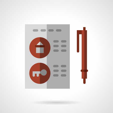 housing style: Document and pen. Signing of housing contract. Flat color style vector icon. Pental and sale of property. Web design elements.