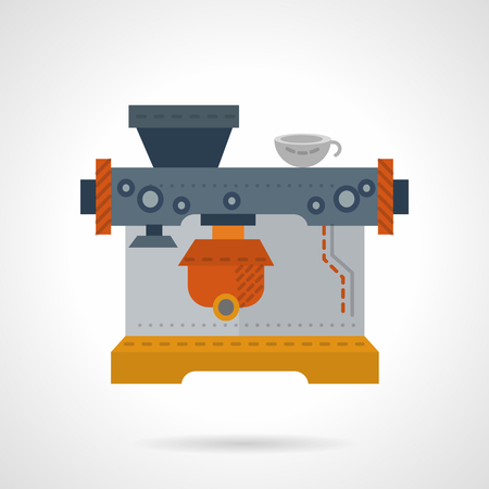 preparing: Coffee making machine. Flat color style vector icon. Preparing tasty and aroma coffee drinks. Web design elements.