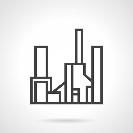 industrial complex: Gas factory, gasworks. Black simple line style vector icon. Industrial structures and buildings complex. Web design elements. Illustration