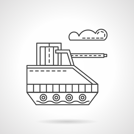 radio unit: Unmanned military land robot. Flat line style vector icon. Innovation technology in military industry. Web design elements.