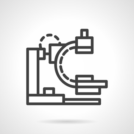 X 線や MRI 装置の簡単なライン スタイルのベクトルのアイコン。医療機器を研究。ビジネスのための web デザインの要素です。