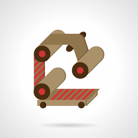manufacturing equipment: Rollers and belt as conveyor parts. Flat color style vector icon. Manufacturing equipment and machinery. Elements of web design for business. Illustration