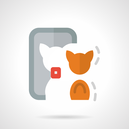 looking in mirror: Orange cat reflection in a mirror and taking selfie. Abstract symbol for modern lifestyle. Flat color simple vector icon. Elements of web design for business. Illustration