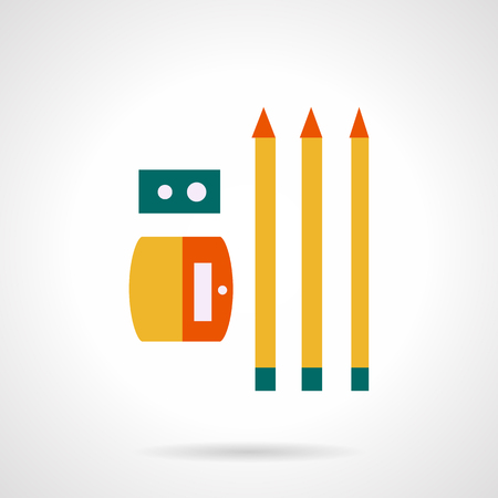 sharpened: Three yellow pencils and sharpener. Flat color style vector icon. Items for school,  office, art and creativity. Elements of web design for business.