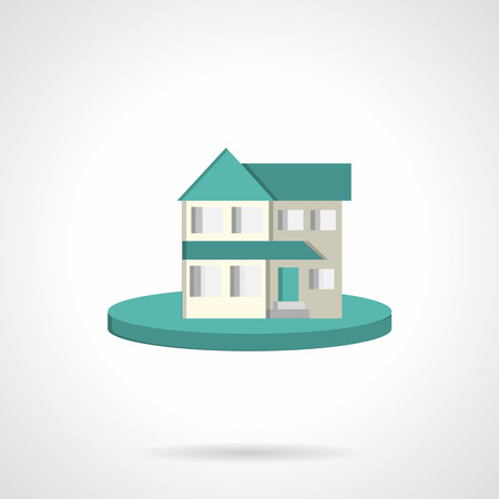 housing style: Residential house with blue roof on blue round button. Flat color style vector icon. Symbols for rent of property, housing, mortgage. Elements of web design for business.
