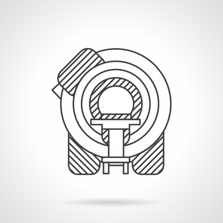 tomography: Machine for magnetic resonance tomography. Flat line style vector icon. Medical diagnosis equipment. Elements of web design for business.