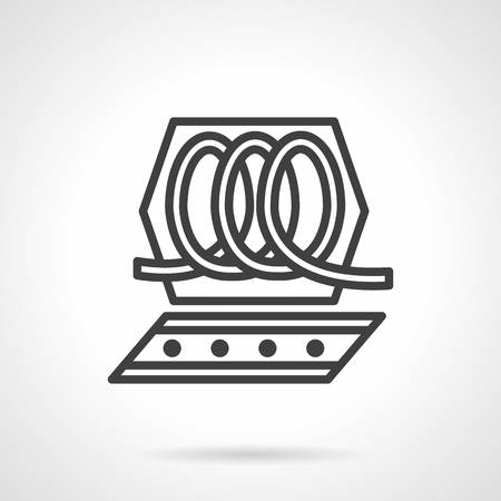 operational: Part of equipment for chocolate or candies processing. Black simple line vector icon. Food processing machinery. Elements of web design for business.