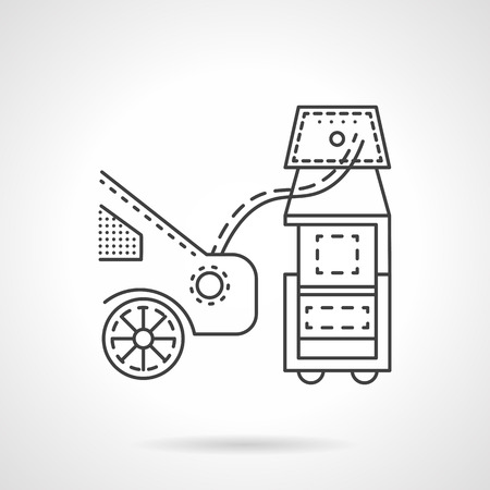 emission: Equipment for measuring automobile emission. Flat thin line vector icon. Car service symbol. Elements of web design for business. Illustration