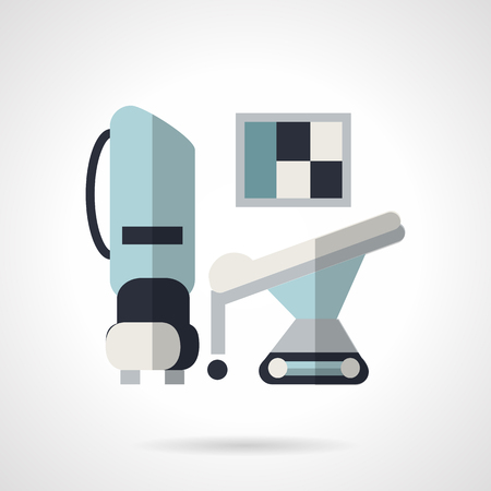 tomography: MRI diagnosis equipment. Flat color style vector icon on white background. Medical equipment.  Elements of web design for business.