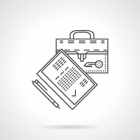 10 fingers: Suitcase. document and pen. Flat thin line vector icon. Symbol for paperwork, office, business. Elements of web design for business.