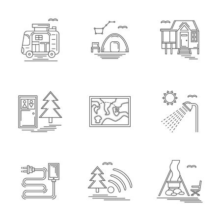 Set of linear vector icons and signs for summer rest and camping. Services on campsite. Design elements for business and website.