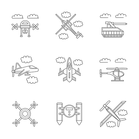 unmanned: Set of linear vector icons and signs for military drones. Unmanned robots for surveillance, spy. Design elements for business and website. Illustration