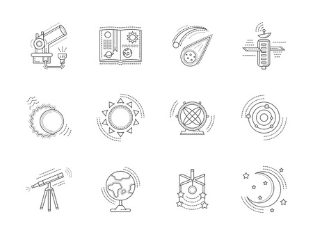 observing: Set of line style vector icons for astronomy. Education, space research, education symbols. Design elements for business and website.