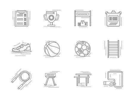gym equipment: Set di icone vettoriali line art e le indicazioni per l'educazione fisica. Attrezzature da palestra, simboli per corsi di formazione e di fitness. Elementi di design per le imprese e il sito web.