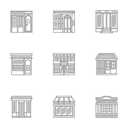 escaparates de tiendas: Las muestras de escaparates y vitrinas de tiendas, cafeter�as, restaurantes y otros. Iconos vectoriales lineales fijados. Los elementos de dise�o para los negocios y el sitio web.