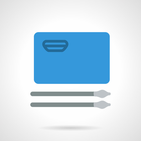 od: Flat color style vector icon for painting od drawing. Blue album and two paint brushes. Items for art. Elements of web design for business.