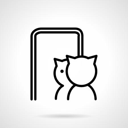 ペットや動物のためのシンプルなライン スタイル ベクトルのアイコン。猫は、ミラーに反映されます。ビジネスのための web デザインの要素です。  イラスト・ベクター素材