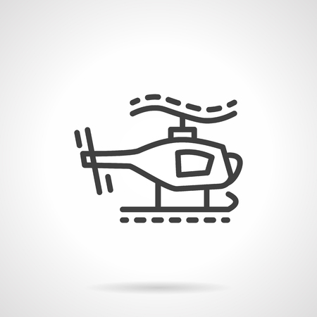 piloting: Simple black line style vector icon for toy helicopter. Unmanned vehicles for children. Elements of web design for business.