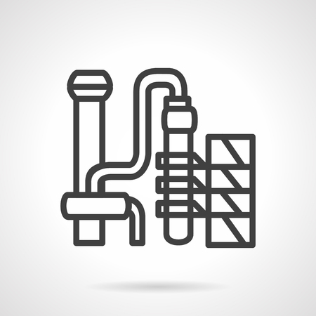 to plant structure: Gasoline plant structure with pipelines and towers. Black simple line style vector icon. Buildings of refining industry. Elements of web design for business.