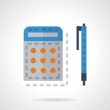 blue pen: Calculator and blue pen. Flat color style vector icon. Items for school, office. Accessories for mathematic or arithmetic. Elements of web design for business.