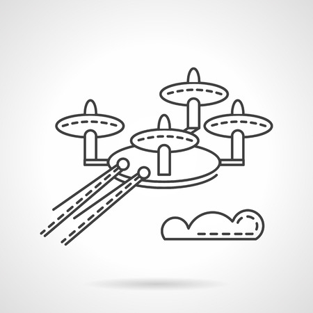 unmanned: Military unmanned quadcopter. Flat line style vector icon. Robot for scanning of trerritory. Elements of web design for business.