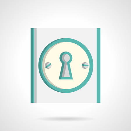 rental property: Blue door lock with classic keyhole. Flat color style vector icon. Symbol for housing, rental property. Elements of web design for business. Illustration