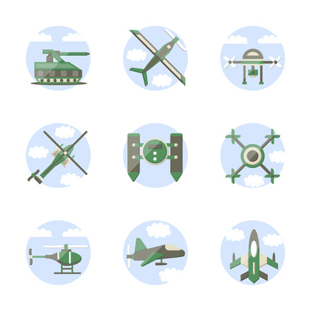 unmanned: Set of round stylish flat color vector icons for unmanned drones and robots. Military technology concept. Web design elements.