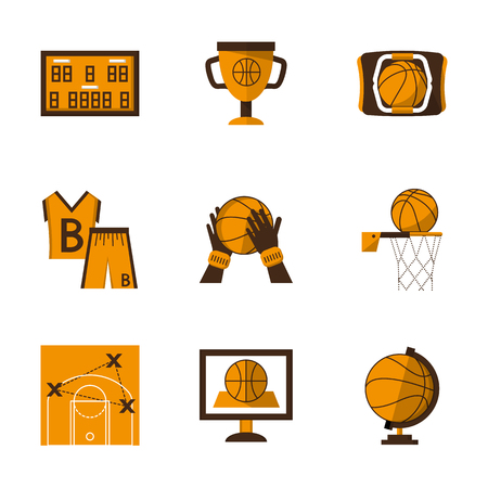 tactic: Set of stylish flat orange and brown vector icons and signs for basketball. Championship, tactic, competition symbols. Team sport. Web design elements.