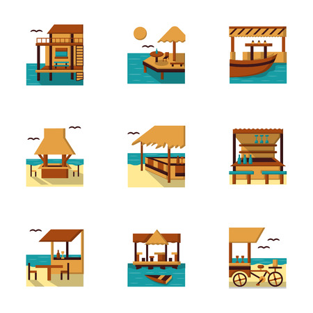 jetty: Set of stylish flat color vector icons for cafe, bars and bungalows. Sea cost architecture and buildings. Web design elements. Illustration