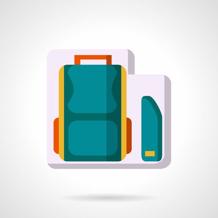 knapsack: School accessories and items. Colorful knapsack and blue pencils box. Flat color stylish vector icon. Web design elements for business and site.
