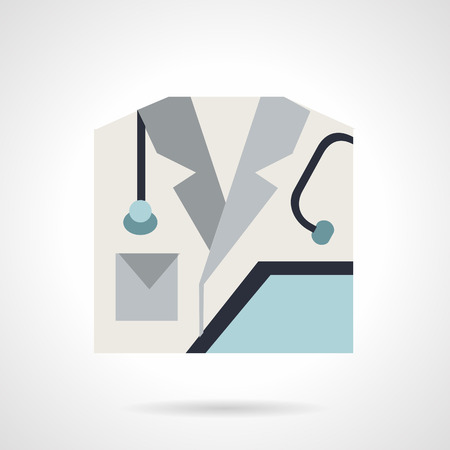 hospital gown: Gray doctor gown with blue clipboard and stethoscope. Flat color style vector icon for medicine. Elements of web design for business.