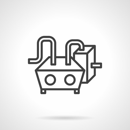 industrial machinery: Abstract black simple line vector icon for heating water equipment. Industrial machinery. Elements of web design for business.