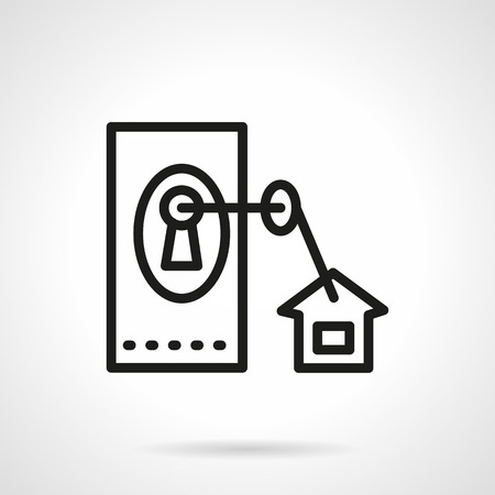 door lock: Square door lock and key with house tag. Black simple line vector icon. Elements of web design for business. Illustration