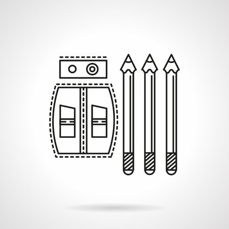 sharpened: Sharpeners and three sharpened pencils. Flat line style vector icon. Items and supplies for school, drawing, office. Elements of web design for business.