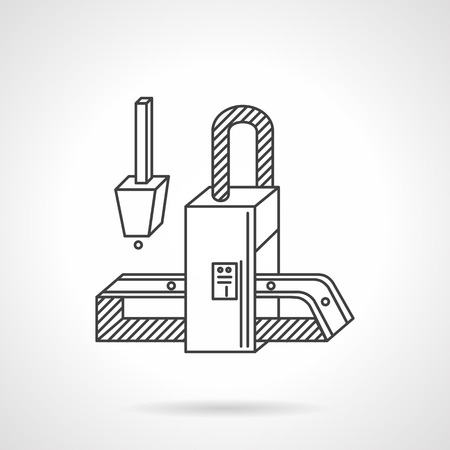 processed: Manufacturing equipment. Conveyor element with belt. Flat line style vector icon. Elements of web design for business.
