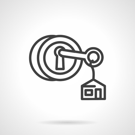 housing estate: Key with house label in circle lock. Symbols for real estate, rent of property, housing. Black simple line vector icon. Web design elements for business and site.