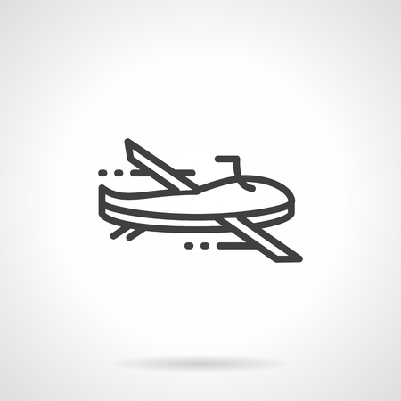 unmanned: Unmanned aerial drone. Military robots and remote controlled vehicles. Black simple line vector icon. Web design elements for business and site. Illustration