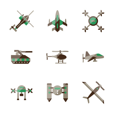 unmanned: Unmanned drones and robots for military industry or game. Flat color style vector icons set. Elements of web design for site or mobile app.