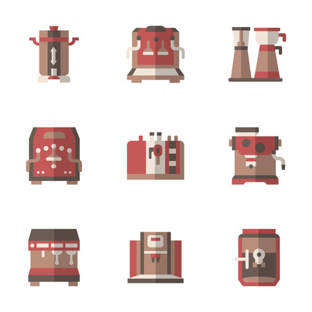 office appliances: Set of flat color style simple vector icons for coffee equipment. Appliances for cafe, home or office. Elements of web design for site or mobile app.