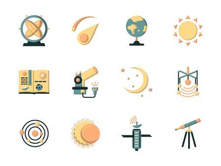 observatory: Astronautics and space flat color style vector icons set. Science and education symbols. Elements of web design for site or mobile app. Illustration