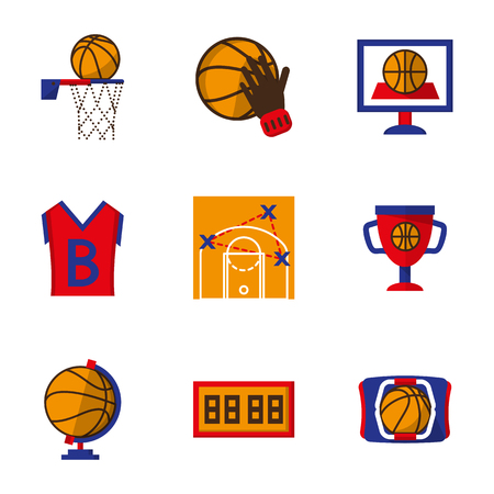 team sports: Team sports symbols and signs. Flat color style vector icons set. Basketball form, ball, competition and other. Elements of web design for site or mobile app.