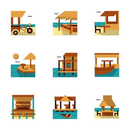 coastline: Tropical resort with coastline cafe, bars and bungalows. Flat colorful icons vector collection. Elements of web design for site or mobile app. Illustration